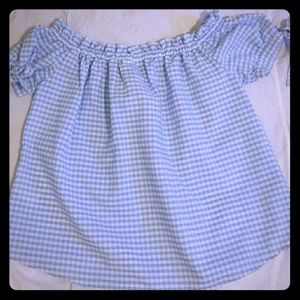 NWT H&M Tie Puff Sleeve Gingham Top, Size 8